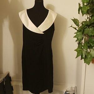 Alex Marie sz 16 black white collar zip lined dres